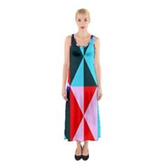 Geometric Pattern Design Angles Sleeveless Maxi Dress