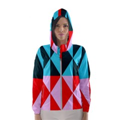 Geometric Pattern Design Angles Hooded Wind Breaker (women)
