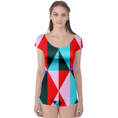 Geometric Pattern Design Angles Boyleg Leotard