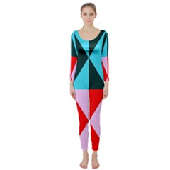 Geometric Pattern Design Angles Long Sleeve Catsuit