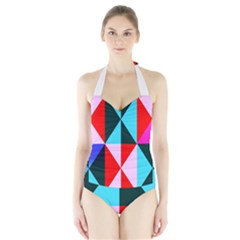 Geometric Pattern Design Angles Halter Swimsuit