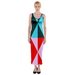 Geometric Pattern Design Angles Fitted Maxi Dress