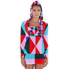 Geometric Pattern Design Angles Long Sleeve Hooded T Shirt
