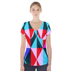 Geometric Pattern Design Angles Short Sleeve Front Detail Top