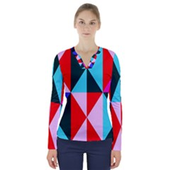 Geometric Pattern Design Angles V Neck Long Sleeve Top
