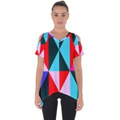 Geometric Pattern Design Angles Cut Out Side Drop Tee