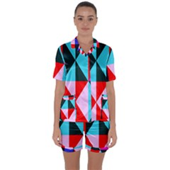 Geometric Pattern Design Angles Satin Short Sleeve Pyjamas Set