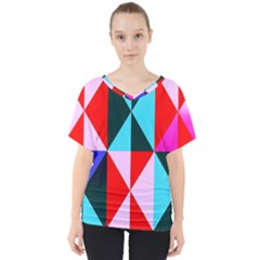 Geometric Pattern Design Angles V Neck Dolman Drape Top