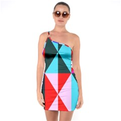 Geometric Pattern Design Angles One Soulder Bodycon Dress