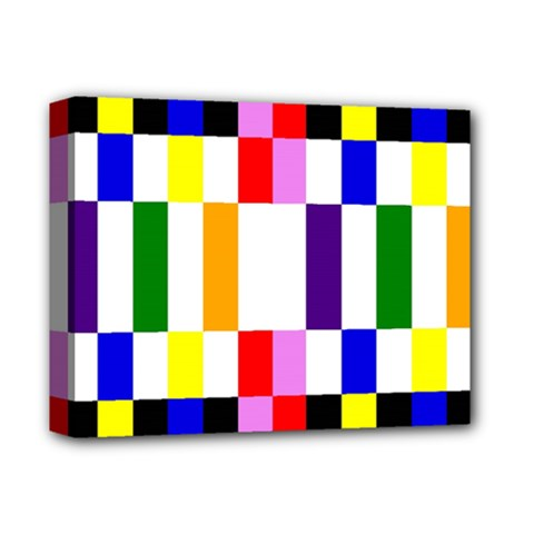 Rainbow Color Blocks Red Orange Deluxe Canvas 14  X 11  by Nexatart
