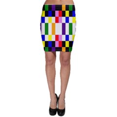 Rainbow Color Blocks Red Orange Bodycon Skirt