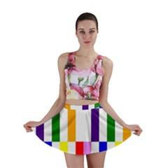 Rainbow Color Blocks Red Orange Mini Skirt