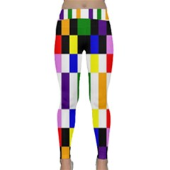 Rainbow Color Blocks Red Orange Classic Yoga Leggings
