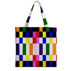 Rainbow Color Blocks Red Orange Zipper Grocery Tote Bag