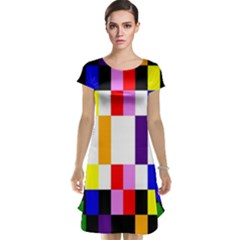 Rainbow Color Blocks Red Orange Cap Sleeve Nightdress