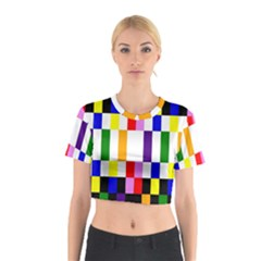 Rainbow Color Blocks Red Orange Cotton Crop Top
