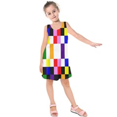 Rainbow Color Blocks Red Orange Kids  Sleeveless Dress