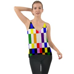 Rainbow Color Blocks Red Orange Cami