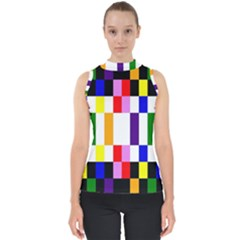 Rainbow Color Blocks Red Orange Shell Top