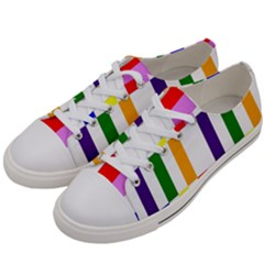 Rainbow Color Blocks Red Orange Women s Low Top Canvas Sneakers by Nexatart