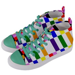 Rainbow Color Blocks Red Orange Women s Mid Top Canvas Sneakers by Nexatart