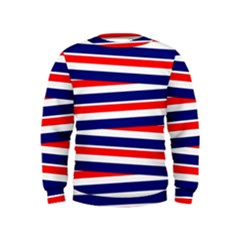 Red White Blue Patriotic Ribbons Kids  Sweatshirt