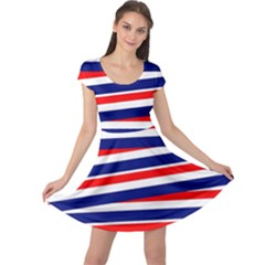 Red White Blue Patriotic Ribbons Cap Sleeve Dress