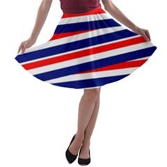 Red White Blue Patriotic Ribbons A Line Skater Skirt