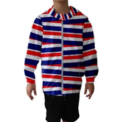 Red White Blue Patriotic Ribbons Hooded Wind Breaker (kids)