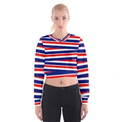 Red White Blue Patriotic Ribbons Cropped Sweatshirt
