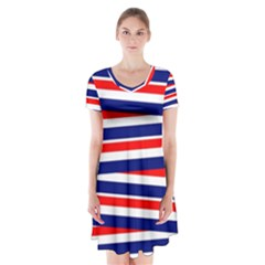 Red White Blue Patriotic Ribbons Short Sleeve V Neck Flare Dress