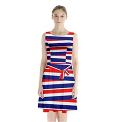 Red White Blue Patriotic Ribbons Sleeveless Waist Tie Chiffon Dress