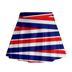 Red White Blue Patriotic Ribbons Mini Flare Skirt