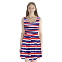 Red White Blue Patriotic Ribbons Split Back Mini Dress