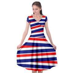Red White Blue Patriotic Ribbons Cap Sleeve Wrap Front Dress