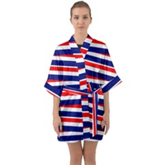 Red White Blue Patriotic Ribbons Quarter Sleeve Kimono Robe