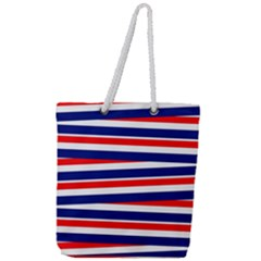 Red White Blue Patriotic Ribbons Full Print Rope Handle Tote (large)