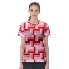 Pink Red Burgundy Pattern Stripes Women s Sport Mesh Tee