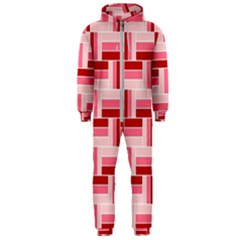 Pink Red Burgundy Pattern Stripes Hooded Jumpsuit (men)
