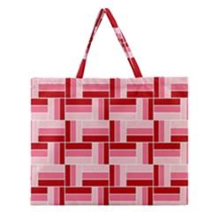 Pink Red Burgundy Pattern Stripes Zipper Large Tote Bag