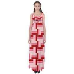 Pink Red Burgundy Pattern Stripes Empire Waist Maxi Dress