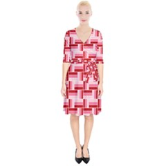 Pink Red Burgundy Pattern Stripes Wrap Up Cocktail Dress