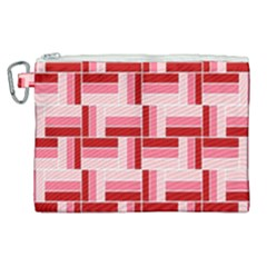 Pink Red Burgundy Pattern Stripes Canvas Cosmetic Bag (xl) by Nexatart