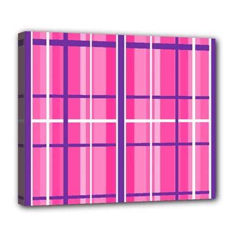 Gingham Hot Pink Navy White Deluxe Canvas 24  X 20