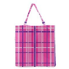 Gingham Hot Pink Navy White Grocery Tote Bag by Nexatart