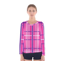 Gingham Hot Pink Navy White Women s Long Sleeve Tee