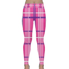 Gingham Hot Pink Navy White Classic Yoga Leggings
