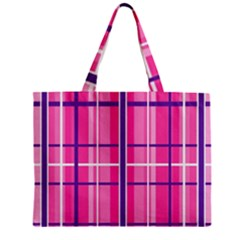 Gingham Hot Pink Navy White Zipper Mini Tote Bag