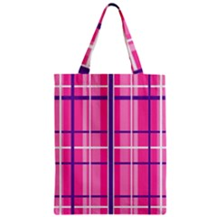 Gingham Hot Pink Navy White Zipper Classic Tote Bag