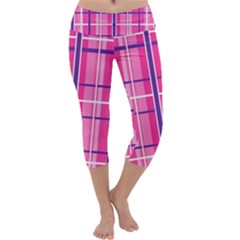 Gingham Hot Pink Navy White Capri Yoga Leggings